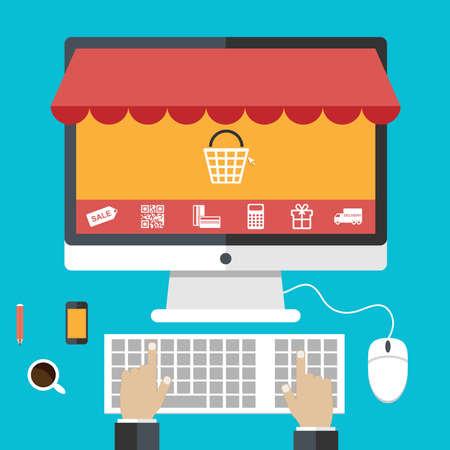 Ilustración de Flat design concepts online shopping and e-commerce - Imagen libre de derechos