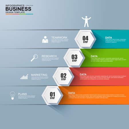 Illustration pour Infographics business stair step success vector design template - image libre de droit