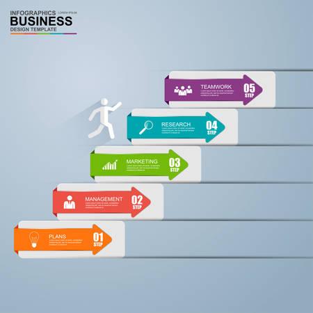 Ilustración de Infographics business stair step success vector design template - Imagen libre de derechos