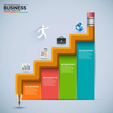 Illustration pour Infographic business staircase education vector design template - image libre de droit
