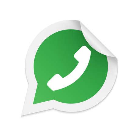 Illustration pour Green phone handset in speech bubble icon - image libre de droit