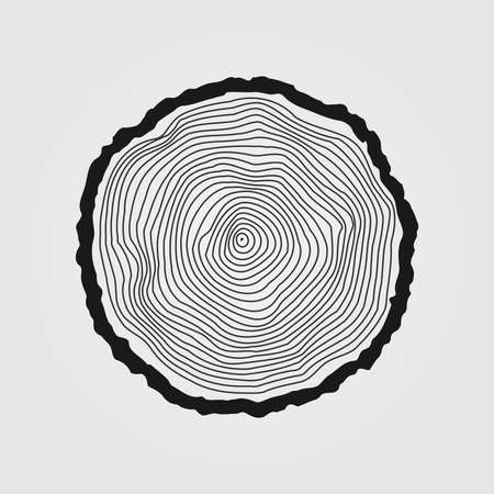 Illustration pour Vector tree rings background and saw cut tree trunk - image libre de droit