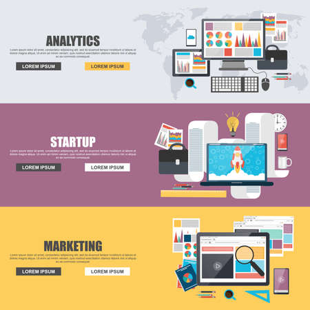 Illustration pour Flat design concepts for business marketing, analytics and startup - image libre de droit