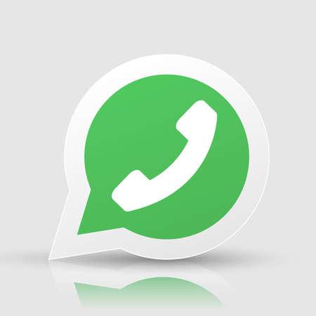 Illustration pour Green phone handset in speech bubble vector icon - image libre de droit
