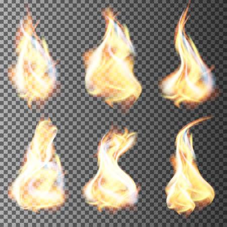 Ilustración de Realistic fire flames vector on transparent background - Imagen libre de derechos