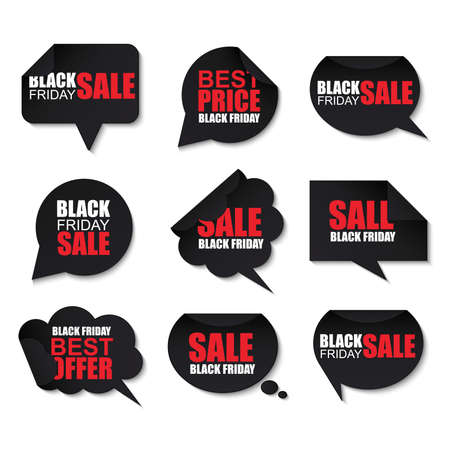 Illustration pour Black friday collection realistic curved paper speech bubbles - image libre de droit