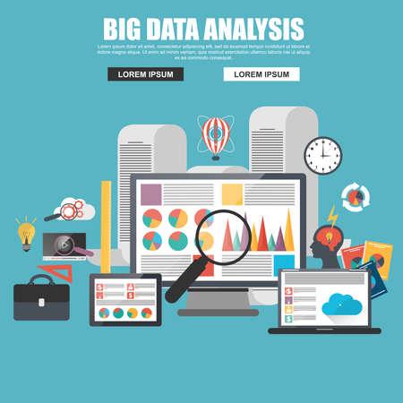 Illustration pour Flat design concept of business big data analysis - image libre de droit