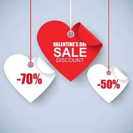 Illustration pour Valentines day heart sale tag, poster template. Red twisted heart, isolated on white background. Vector illustration. - image libre de droit