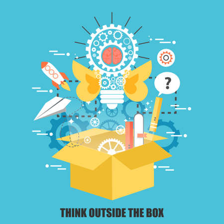 Illustration pour Flat concept of think outside the box, creative idea. Can be used for poster, banner, magazine, web design. Best solution for graphic designers. Vector illustration. - image libre de droit