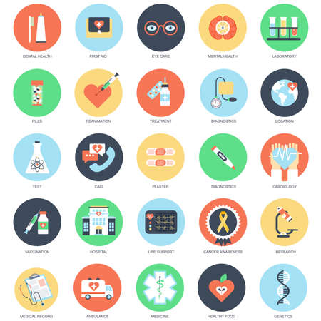 Photo pour Flat conceptual icon set of healthcare and medicine, hospital services, laboratory analyzes, medical specialists, medical equipment. Pack flat icons concept for website and graphic designers. - image libre de droit
