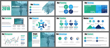 Ilustración de Green and blue presentation slides templates from info graphic elements - Imagen libre de derechos