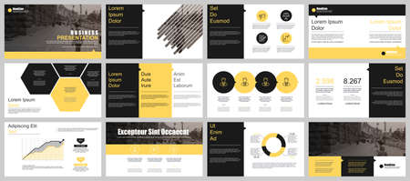 Ilustración de Yellow and black presentation slides templates from info graphic elements - Imagen libre de derechos