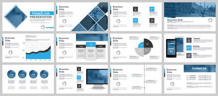 Illustration pour Business presentation slides templates from infographic elements. Can be used for presentation, flyer and leaflet, brochure, corporate report, marketing, advertising, annual report, banner, booklet. - image libre de droit
