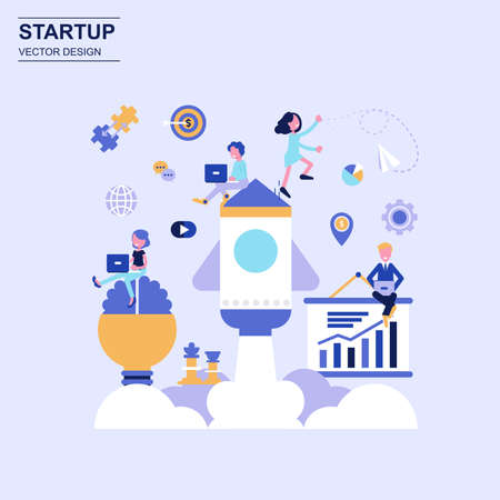 Ilustración de Startup flat design concept blue style with decorated small people character. - Imagen libre de derechos
