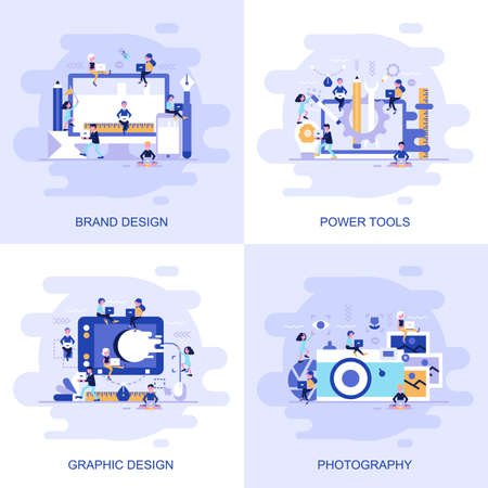 Illustration pour Modern flat concept web banner of Photography, Graphic Design, Power Tools and Brand Design with decorated small people character. Conceptual vector illustration for web and graphic design, marketing. - image libre de droit