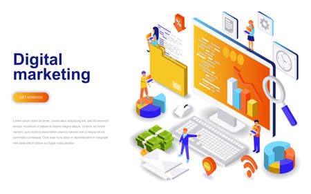 Illustration pour Digital marketing modern flat design isometric concept. Advertising and people concept. Landing page template. Conceptual isometric vector illustration for web and graphic design. - image libre de droit