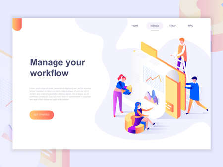 Illustration pour Landing page template of business and workflow management. 3D isometric concept of web page design for website and mobile website. Vector illustration. - image libre de droit