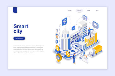 Illustrazione per Smart city modern flat design isometric concept. Architecture and people concept. Landing page template. Conceptual isometric vector illustration for web and graphic design. - Immagini Royalty Free