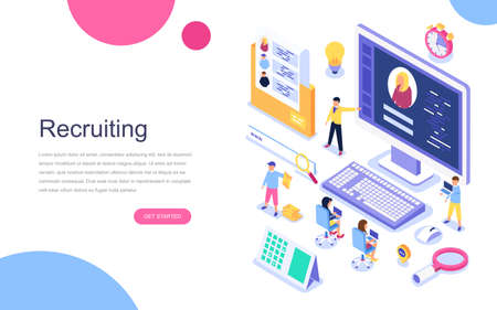 Photo pour Modern flat design isometric concept of Recruiting for banner and website. Landing page template. Employer, businessman resources, hr job presentation for occupation choose. Vector illustration. - image libre de droit