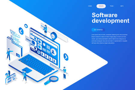 Illustrazione per Software development modern flat design isometric concept. Developer and people concept. Landing page template. Conceptual isometric vector illustration for web and graphic design. - Immagini Royalty Free