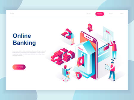 Illustration pour Modern flat design isometric concept of Online Banking for banner and website. Isometric landing page template. Electronic bank payment or customer support. Vector illustration. - image libre de droit