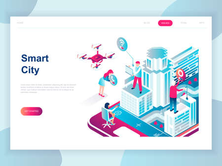 Illustrazione per Modern flat design isometric concept of Smart City for banner and website. Isometric landing page template. Business center with skyscrapers, streets of the city connected roads. Vector illustration. - Immagini Royalty Free