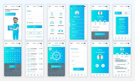 Illustration pour Set of UI, UX, GUI screens Medicine app flat design template for mobile apps, responsive website wireframes. - image libre de droit