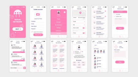 Photo pour Set of UI, UX, GUI screens Social Network app flat design template for mobile apps, responsive website wireframes. - image libre de droit