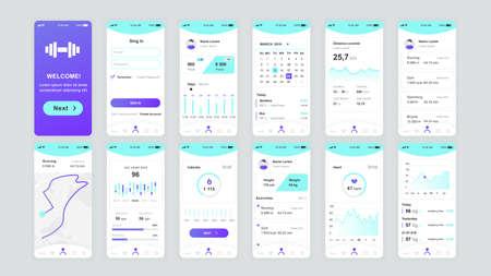 Illustration pour Set of UI, UX, GUI screens Fitness app flat design template for mobile apps, responsive website wireframes. - image libre de droit