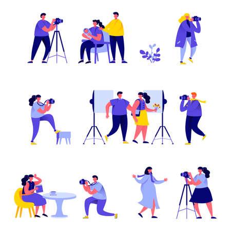 Illustration pour Set of flat people photographers take different pictures characters. - image libre de droit