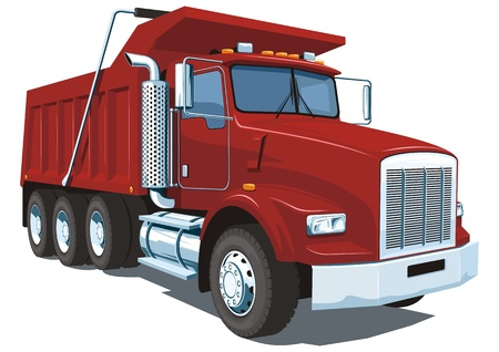 Illustration pour Vector isolated red dump truck - image libre de droit