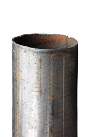 Foto de cut rusted steel water pipe closeup isolated on white background - Imagen libre de derechos