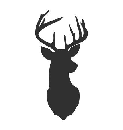 Illustration pour Hand drawn silhouette of head of reindeer. Vector illustration. - image libre de droit