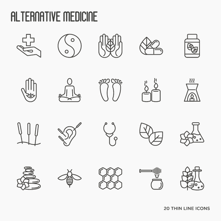 Illustration for Alternative medicine thin line icon set. Elements for app or web site for yoga, acupuncture, wellness, ayurveda, chinese medicine, holistic centre. Vector illustration. - Royalty Free Image