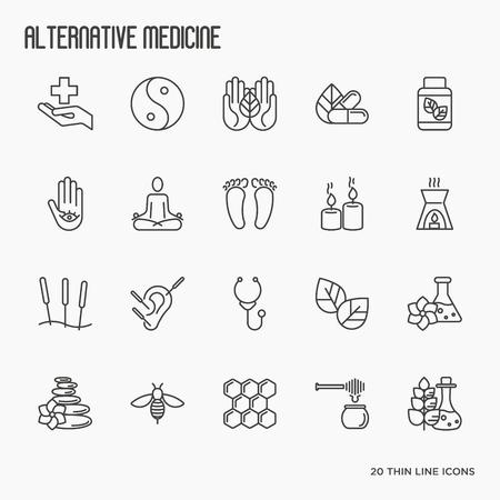 Ilustración de Alternative medicine thin line icon set. Elements for app or web site for yoga, acupuncture, wellness, ayurveda, chinese medicine, holistic centre. Vector illustration. - Imagen libre de derechos