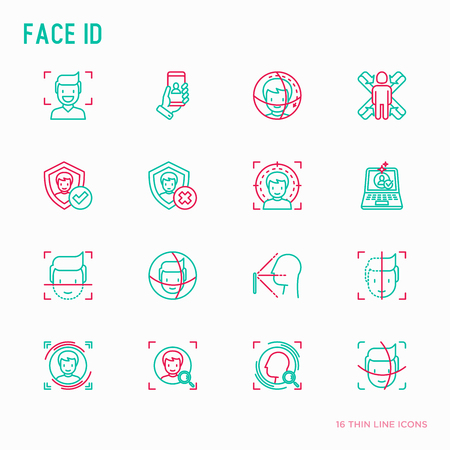 Ilustración de Face ID thin line icons set: face recognition, scanning, mobile authentication, approved, disapproved, face detect. Modern vector illustration. - Imagen libre de derechos