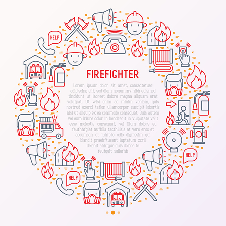 Illustration for Firefighter concept in circle with thin line icons: fire, extinguisher, axes, hose, hydrant. Modern vector illustration for banner, web page, print media. - Royalty Free Image