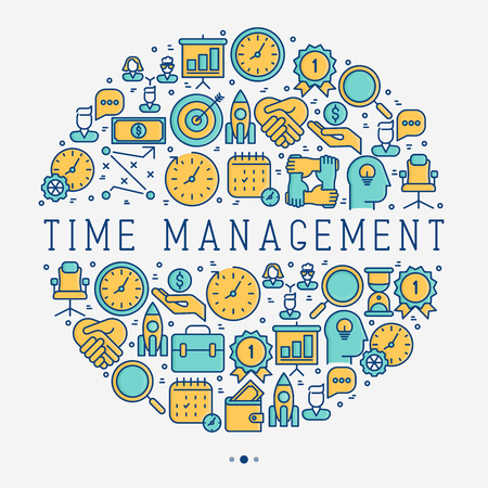Illustration pour Time management concept in circle with thin line icons. Development of business process. Vector illustration for banner, web page, print media. - image libre de droit