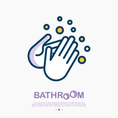 Ilustración de Wash your hands with soap thin line icon. Vector illustration of disinfection and hygiene for health. - Imagen libre de derechos