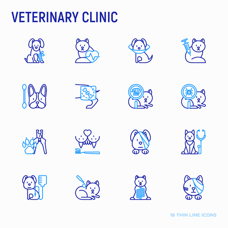 Illustrazione per Veterinary clinic thin line icons set: broken leg, protective collar, injection, cardiology, cleaning of ears, teeth, shearing claws, bandage on eye, blood transfusion for dog. Vector illustration. - Immagini Royalty Free
