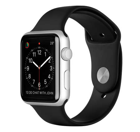 Foto per Varna, Bulgaria - October 16, 2015: Apple Watch Sport 42mm Silver Aluminum Case with Black Sport Band with clock face on the display. Side view studio shot fully in focus. Isolated on white background. - Immagine Royalty Free