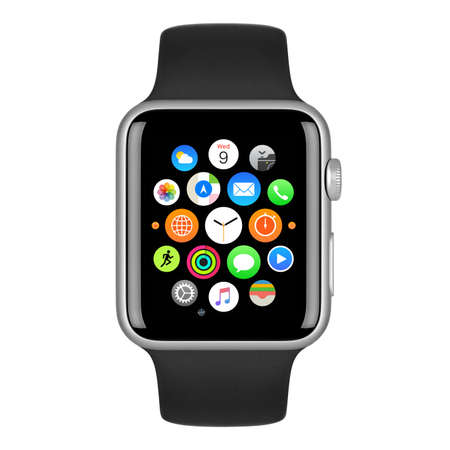 Photo pour Varna, Bulgaria - October 15, 2015: Apple Watch Sport 42mm Silver Aluminum Case with Black Sport Band with homescreen on the display. Front view close up studio shot. Isolated on white background. - image libre de droit