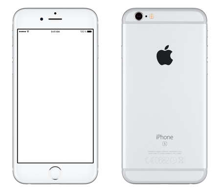 Photo pour Varna, Bulgaria - October 24, 2015: Front view of Silver Apple iPhone 6S mockup with white screen and back side with Apple Inc logo. Isolated on white. - image libre de droit