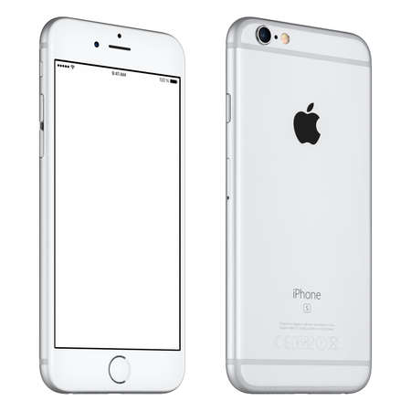 Photo pour Varna, Bulgaria - October 24, 2015: Front view of Silver Apple iPhone 6S mockup slightly rotated with white screen and back side with Apple Inc logo. Isolated on white. - image libre de droit