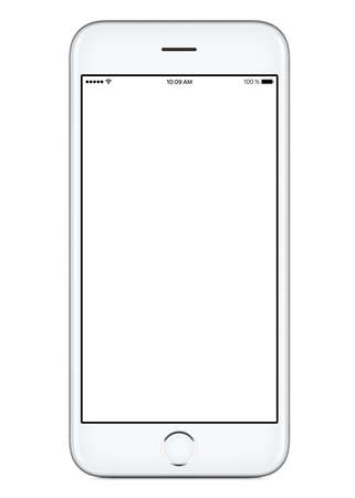 Photo for Directly front view of a modern white mobile smart phone mockup with blank screen isolated on white background. High-quality studio shot. - Royalty Free Image