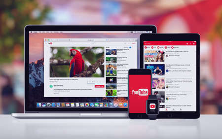 Photo for YouTube on the Apple iPhone 7 iPad Pro Apple Watch and Macbook Pro - Royalty Free Image