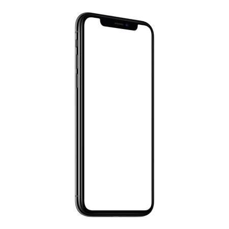 Foto de New modern smartphone mockup CCW slightly rotated isolated on white background - Imagen libre de derechos