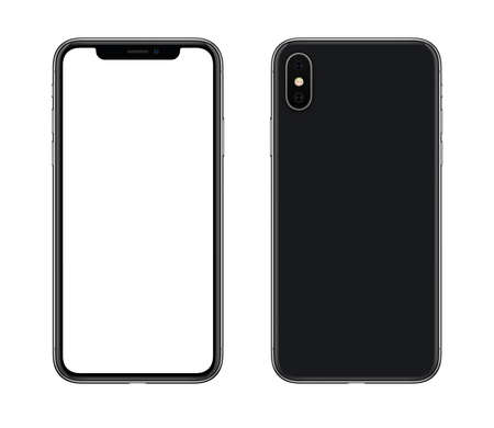 Foto de Smartphone mockup front and back side. New modern black frameless smartphone mockup with blank white screen and back side with camera. Isolated on white background. - Imagen libre de derechos