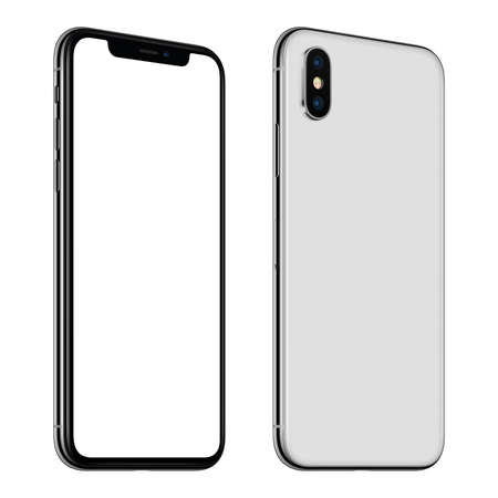 Foto de New white smartphone mockup front and back sides CCW rotated isolated on white background - Imagen libre de derechos