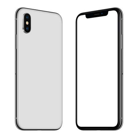 Foto de New white smartphone mockup front and back sides rotated and facing each other - Imagen libre de derechos